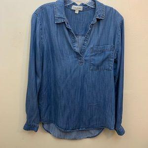 Cloth & Stone V-Neck Long Sleeve Blue Top Sz Med